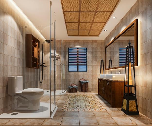 豪華なトロピカルタイルの装飾が施された3 dレンダリングビンテージバスルーム Premium写真