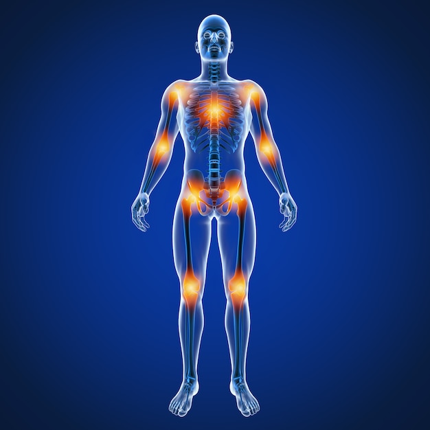 背中の男性の関節痛の3 dイラストレーション Premium写真