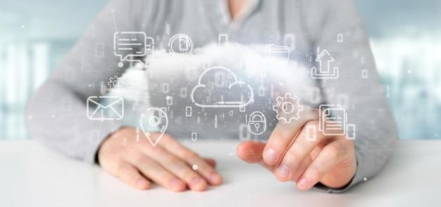 マルチメディアアイコン3 dレンダリングの雲を保持している実業家 Premium写真