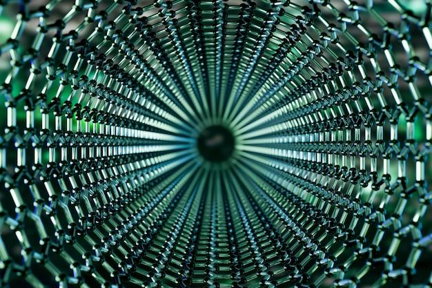 緑の背景、3 dレンダリングにグラフェン分子ナノテクノロジー構造の表示 Premium写真