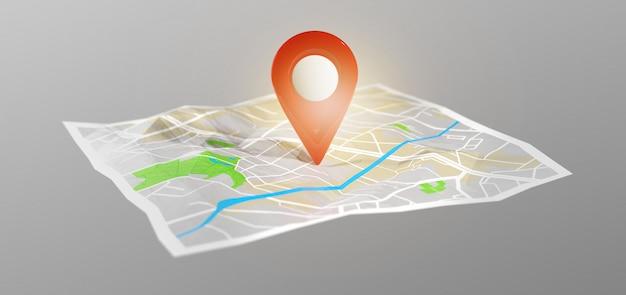 地図上の3 dレンダリングピンホルダー Premium写真