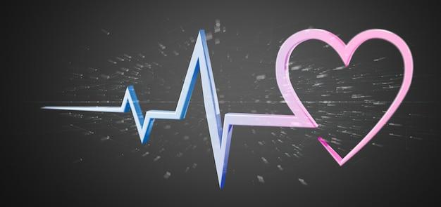3 dレンダリング医療心臓カーブ絶縁型 Premium写真