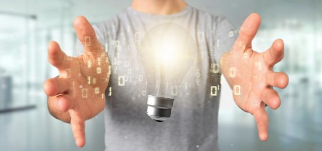 すべての3 dレンダリングの周りのデータと電球ランプのアイデアコンセプトを保持している実業家 Premium写真