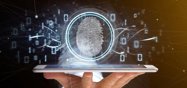 デジタル指紋識別バイナリコード3 dレンダリングを保持している実業家 Premium写真