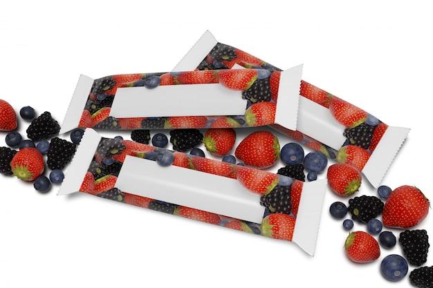 赤の果実 -  3 dレンダリングと白のシリアルバー包装のモックアップ Premium写真