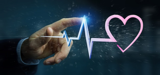 3 dレンダリング医療心臓曲線を保持している実業家 Premium写真