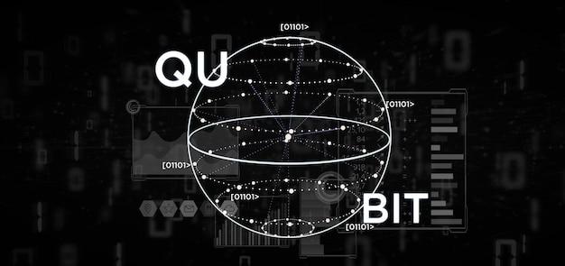 量子ビットアイコン3 dレンダリングと量子コンピューティングの概念 Premium写真