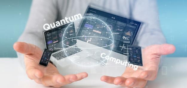 量子ビットとデバイスの3 dレンダリングと量子コンピューティングの概念を保持している実業家 Premium写真