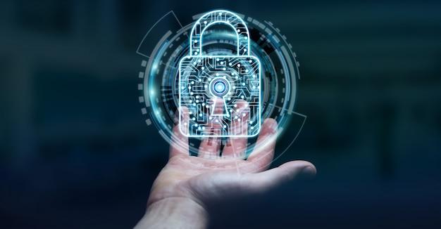 彼のデータ3 dレンダリングを保護するためにデジタル南京錠を使用しての実業家 Premium写真