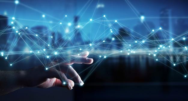 フライングネットワーク接続3 dレンダリングを使用しての実業家 Premium写真