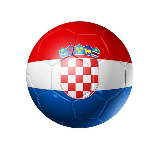 クロアチアチームの旗を持つ3 dサッカーボール。 Premium写真