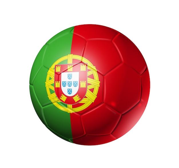 ポルトガルチームの旗を持つ3 dサッカーボール Premium写真
