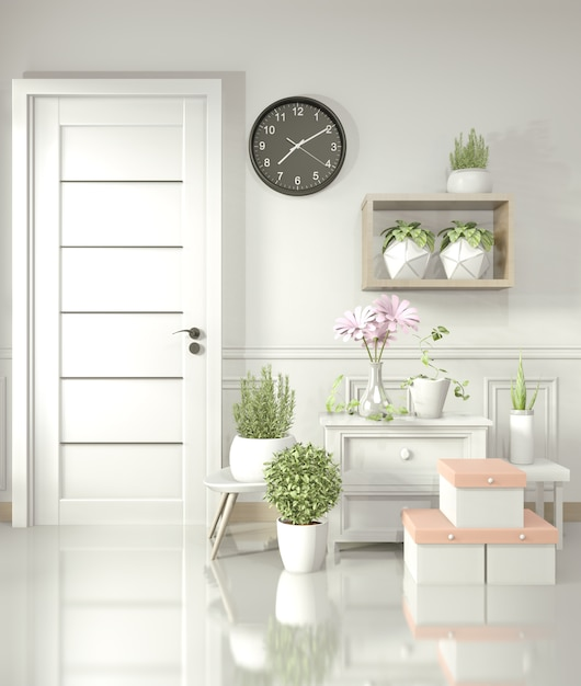 白い部屋の光沢のある床と装飾植物、3 dレンダリングに白いキャビネット Premium写真