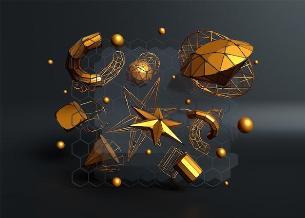 球、星、管などの金色の水晶要素の3 dレンダリング Premium写真