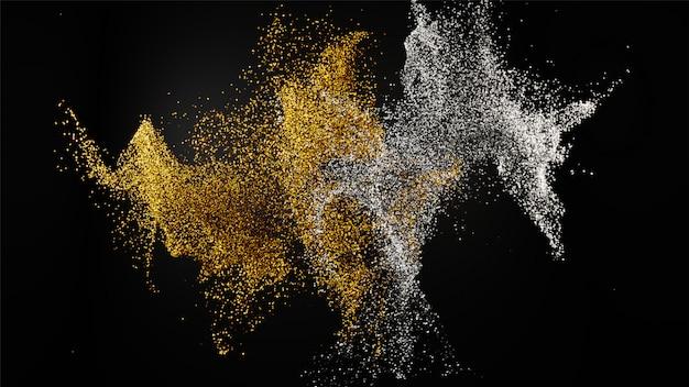 金色と銀色の混合キラキラダスト粒子の3 dレンダリング Premium写真