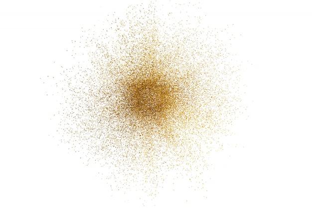 白い背景の上の抽象的な黄金キラキラスプラッシュの3 dレンダリング。 Premium写真