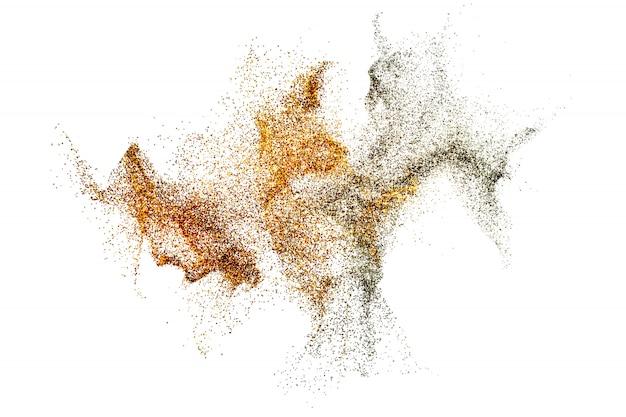 抽象的な黄金と銀の混合スプラッシュダスト微粒子の3 dレンダリング Premium写真