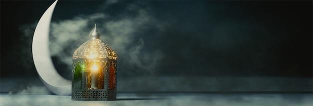 三日月と照らされたランタンの3 dレンダリング図 Premium写真