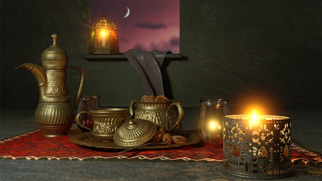 調理器具や夜景に照らされたランタンの3 dレンダリング Premium写真