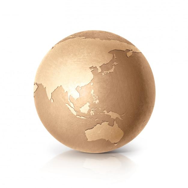 ゴールデングローブ3 dイラストアジア&オーストラリア地図分離白 Premium写真
