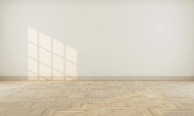 ベージュの壁3 dレンダリングと現実的なモダンな中立的な空の部屋のインテリアスペース Premium写真