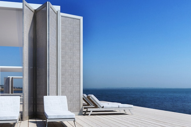 シービュー3 dレンダリングに住んでいるビーチ Premium写真