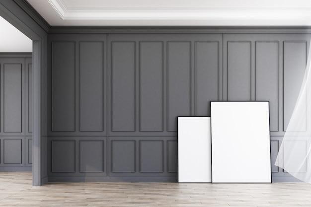 インテリアスペースモダンクラシックグレーパターンを飾るアートワーク3 dレンダリングと壁と木製の床 Premium写真