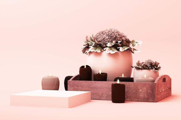 装飾と小道具、化粧品や製品の表彰台3 dレンダリングのデザインと抽象的な幾何学的形状パステルピンク色シーンミニマル Premium写真