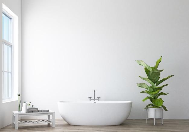 モダンなバスルームデザインとロフト3 dレンダリング Premium写真