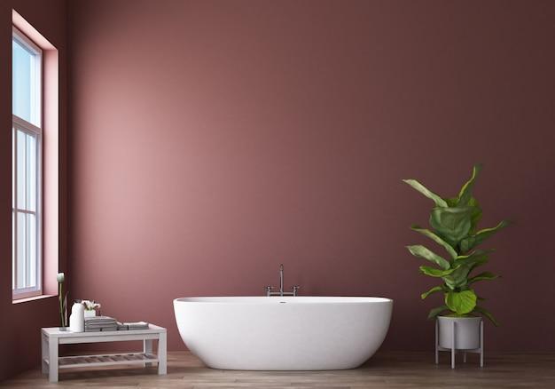 ピンクの壁3 dレンダリングとモダンなバスルームデザイン&ロフト Premium写真