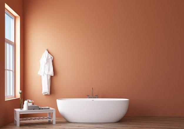 オレンジ色の壁3 dレンダリングとモダンなバスルームデザイン&ロフト Premium写真