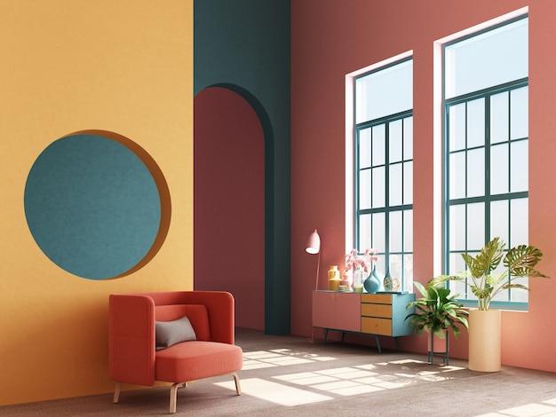 メンフィスのインテリアコンセプトデザインのコンソールと支柱の3 dレンダリングとカラフルなアームチェア Premium写真