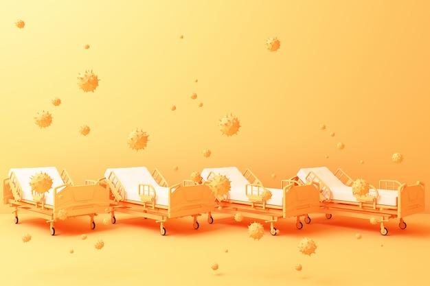 黄色の病院の3 dレンダリング Premium写真
