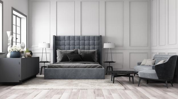 古典的な要素と家具グレートーン3 dレンダリングで飾る壁とモダンな古典的な寝室 Premium写真