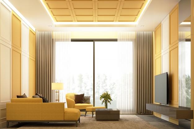黄色のトーンのインテリアイメージシーンデザインクラシックな要素の詳細壁の装飾と家具セット3 dレンダリングとモダンで豪華なリビングエリア Premium写真
