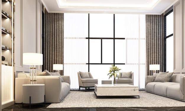 ソファのコーヒーテーブルと黒い大理石の床と古典的な要素の装飾の壁と天井の3 dレンダリングのアームチェア付きのリビングルーム Premium写真