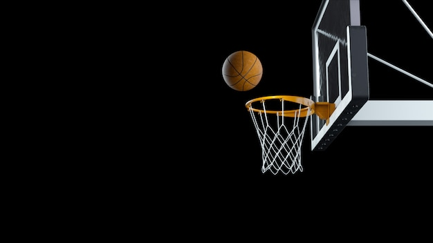 3 dレンダリングバスケットボールは黒の背景にバスケットを打つ Premium写真