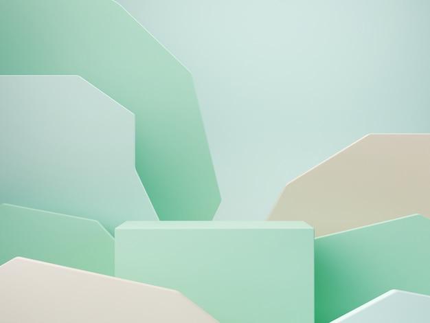 緑のパステルカラーの抽象的な背景のパステルカラーの図形。最小限のボックスの表彰台。幾何学的な形のシーン。化粧品のプレゼンテーションのための空のショーケース。ファッション誌。 3 dのレンダリング。 Premium写真