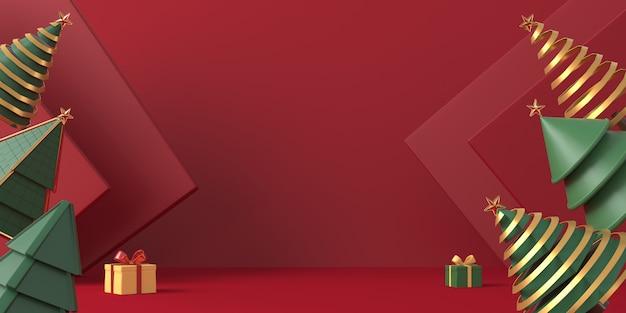 赤い背景の3 dレンダリングクリスマスツリー Premium写真