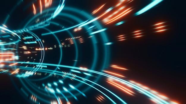 輝く光フレアと抽象的な高速移動ストライプラインの3 dレンダリング。高速モーションブラー。 Premium写真