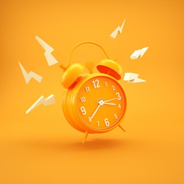 シンプルな黄色の目覚まし時計ミニマリズムデザイン3 dレンダリング Premium写真