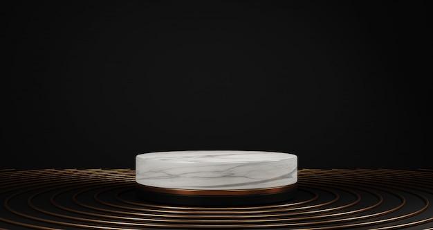 白い大理石と黒の背景、金の指輪、床に丸いフレーム、抽象的な最小限の概念、空白スペース、豪華なミニマリストに分離された黄金の台座の3 dレンダリング Premium写真