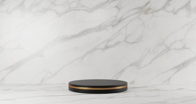 白い大理石の背景、ゴールデンリング、抽象的な最小限の概念、空白、豪華なミニマリストに分離された黒い大理石の台座の3 dレンダリング Premium写真