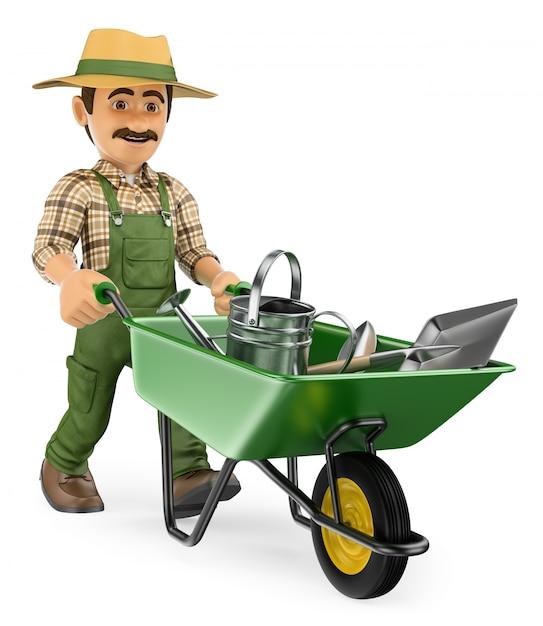 庭師ツールで手押し車を押す3 dの庭師 Premium写真
