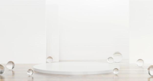 白いテンプレート製品ステージ光沢のある背景の3 dレンダリングに透明なガラスボールが存在します。 Premium写真