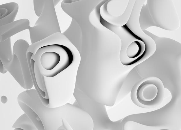 有機曲線のシュールなキューブの一部と3 dアート背景ラウンドマットプラスチック素材で滑らかで柔らかいバイオフォーム Premium写真