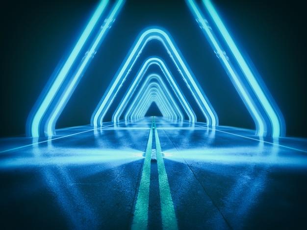 ダークブルーの抽象的な背景、光と効果の概念、3 dのレンダリングと未来的な高速道路 Premium写真