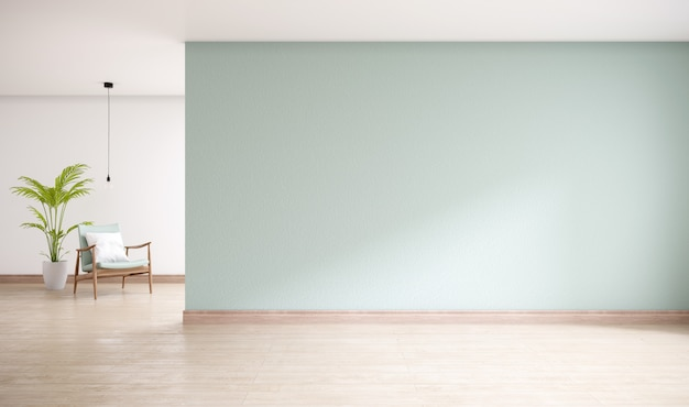 木製の床、リビングルームの最小限のインテリア、3 dレンダリングと緑の壁 Premium写真