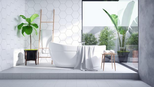 モダンなバスルームのインテリアデザイン、白いタイルの壁とコンクリートの床タイル、3 dのレンダリングに白いバスタブ Premium写真