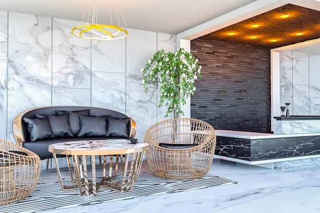 モダンなホテルのロビーエリアとフロントデスク、3 dレンダリングのインテリア Premium写真